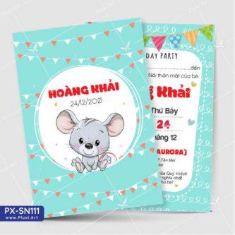 Thiệp Thôi Nôi bé trai tuổi chuột