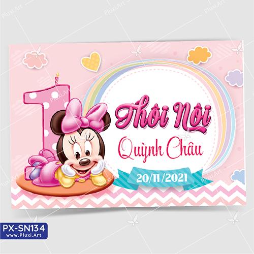 Thiệp thôi nôi bé gái tuổi chuột Minnie