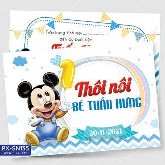 Thiệp thôi nôi bé trai tuổi chuột Mickey